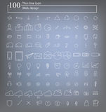 100 web icon thin line vector. Design Royalty Free Stock Images