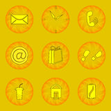 Web-icon_yellow 9. Web icons set brown contour on a yellow background Royalty Free Stock Photos