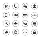 Web, icone in bianco e nero di comunicazione: Internet Fotografie Stock Libere da Diritti