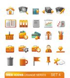 Web Icons – Orange series. Set 4. Set of icons for web or phone with orange elements. Vector illustration Royalty Free Stock Photos