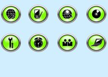 Web icons. Set of green web buttons for internet vector illustration