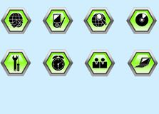 Web icons. Set of green web buttons for internet Stock Photography