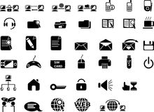 Web icons. Big set of black icons for web sites. Black buttons for internet Royalty Free Stock Photography