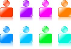 Web icons. Collection of color human figures. Buttons for internet vector illustration