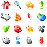 Web icons. Set of 16 colored web icons Royalty Free Stock Photo