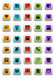 Web icons. An illustration of 35 different colorful web icons stock illustration