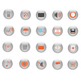 Web Icons. Image of various icons on silver buttons Stock Images