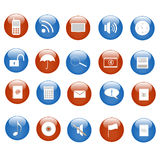 Web Icons. Various blue and red web icons on buttons Stock Images