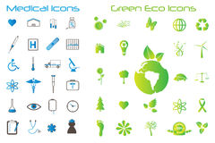 Web Icons. Image of various medical and eco-friendly green icons Stock Photo