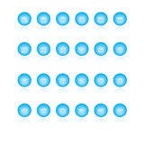Web icons. 24 glossy web icons blue balls with reflection stock illustration