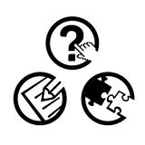 Web icons. Icons for web usage with concept; question, edit, puzzle Royalty Free Stock Photography