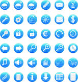Web icons. Set of vector web icons on round blue buttons Royalty Free Stock Photo