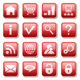 Web icons. On red buttons
