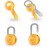 Web icons. Key chain and lock Stock Image