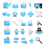 Web icons. Blue vector web icons collection Royalty Free Stock Photos