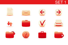 Web icons. Vector illustration � set of red elegant simple icons for common computer functions. Set-1 Royalty Free Stock Image