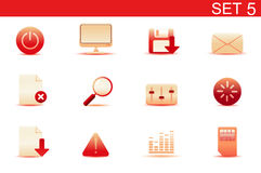 Web icons. Vector illustration - set of red elegant simple icons for common computer and media devices functions. Set-5 Stock Images