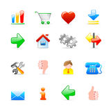 Web icons. Set of 16 colorful web icons Royalty Free Stock Photos