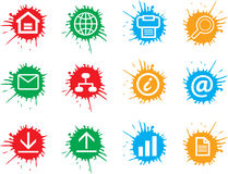 Web Icons. A set of colorful web icons on color splat Stock Illustration