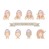 Web icons - beauty treatment, face care, mask. For your design Royalty Free Stock Photos