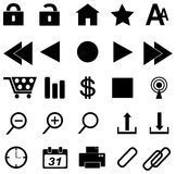 Web icons in black Royalty Free Stock Photo