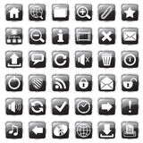 Web icons black. Set of glossy square web icons vector illustration