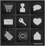Web icons in black square button Stock Photos