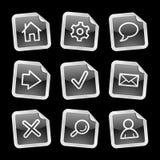 Web icons, black sticker. Vector web icons, black glossy sticker series, V2 Stock Photos