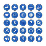 Web Icons, Blue, DropShadows Royalty Free Stock Photography
