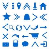 Web icons. Blue on white backgroundn Stock Illustration