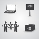 Web Icons on Business Theme. Classic Web Icons on Business Theme. Set of Four Icon with Laptop, Sale Plate, Strongbox and People. Vector EPS 10 Royalty Free Stock Photography
