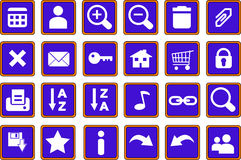 Web icons buttons 1 blue Stock Photo