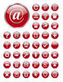 Web icons, buttons. Set of 40 different web icons red glass for business and office