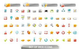Web icons and buttons. Set of sixty-five web icons and four buttons. Vector illustration Royalty Free Stock Photography