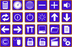 Web icons buttons 2 blue Royalty Free Stock Photos