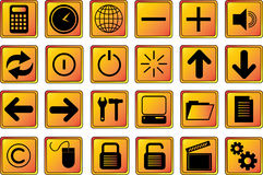 Web icons buttons 2 gold Stock Images