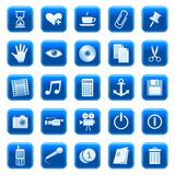 Web icons / buttons 3. Set of blue vector buttons with web icons Stock Image