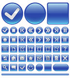 Web icons & buttons - blue Stock Images
