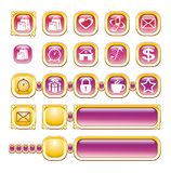 WEB ICONS, BUTTONS, GOLD, PINK. Set of web icons and buttons in golden and pink colours. Vector illustration royalty free illustration