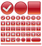 Web icons & buttons - red Stock Photos