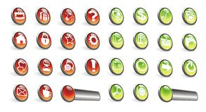 WEB ICONS, BUTTONS, RED, GREEN Stock Photo