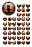 Web icons, buttons set. Web icons for business and office orange glossy Royalty Free Stock Images