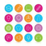 Web icons. Collection of 16 web icons in colorful buttons royalty free illustration