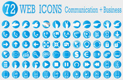 Web icons. 72 web icons of communication and business Stock Photos