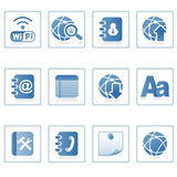 Web icons : communication on mobile. A set of web icons with light shadow Stock Photos