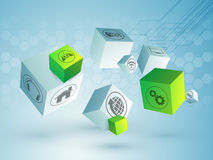 Web icons on 3D cubes. Various web icons on shiny 3D cubes, hi-tech background for Technology concept Stock Image