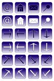 Web icons: dark blue 1. Collection of web icons: at-sign, home, email, search, arrows Royalty Free Stock Image