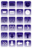 Web icons: dark blue 2. Collection of web icons: ecommerce, navigation, help, mail, travel Stock Photos