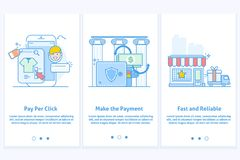 Web icons for e-commerce and Internet banking. Template for mobile app and web site. Modern blue interface UX UI GUI. Web icons for e-commerce and Internet Royalty Free Stock Photos