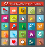 25 Web Icons. Flat Style. 25 colorful Web Icons. Flat Style illustration Stock Photo